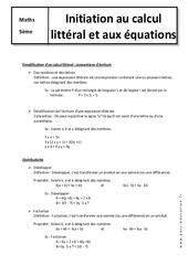 Initiation au calcul littéral et aux équations – 5ème – Cours