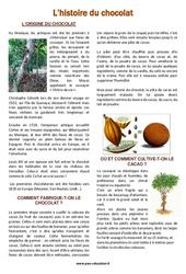 Histoire du chocolat – Pâques – Lecture documentaire – Cm1 – Cm2 – Cycle 3