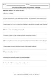 Prévention des risques géologiques – 4ème – Exercices corrigés - Remédiation – Géologie – SVT