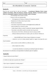 De la fécondation à la naissance – 4ème – Exercices corrigés – Remédiation - SVT