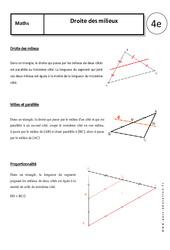 Droite des milieux - 4ème - Cours - Géométrie