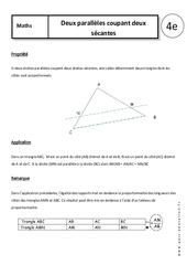 Deux parallèles coupant deux sécantes – 4ème – Cours – Géométrie