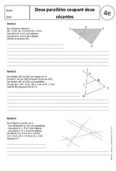 Deux parallèles coupant deux sécantes – Exercices corrigés – 4ème – Géométrie