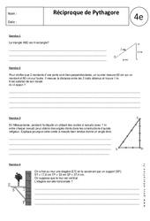 Réciproque de Pythagore – 4ème – Exercices corrigés – Triangles rectangles – Géométrie