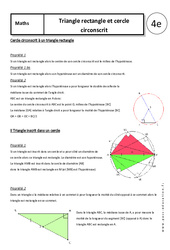 Triangle rectangle - Cercle circonscrit – 4ème – Cours – Géométrie