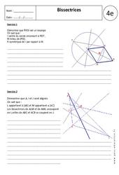 Bissectrices – Exercices corrigés - 4ème – Géométrie