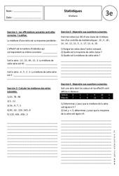 Médiane - Statistiques - Exercices corrigés - 3ème