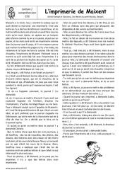 L'imprimerie de Maixent – Ce2 – Récit – Lecture – Cycle 3