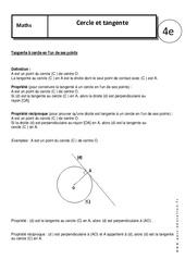 Cercle - Tangente - Cours - 4ème - Géométrie