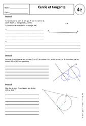 Tangente – Cercle – 4ème – Exercices corrigés – Géométrie