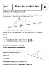 Distance d'un point à une droite – Cours – 4ème – Triangle – Géométrie