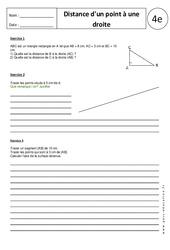 Distance d'un point à une droite – 4ème – Exercices corrigés – Triangle – Géométrie