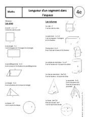 Longueur d'un segment dans l'espace – Cours – 4ème – Géométrie