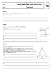 Longueur d'un segment dans l'espace – Exercices corrigés – 4ème – Géométrie