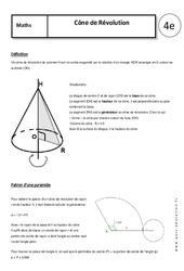Cône de Révolution – Cours – 4ème – Géométrie