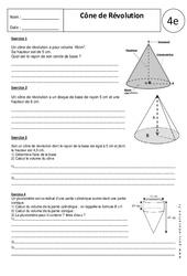 Cône de Révolution – Exercices corrigés – 4ème – Géométrie