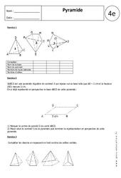 Pyramide – Exercices corrigés – 4ème – Géométrie
