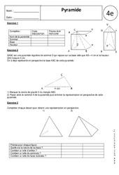 Pyramide – 4ème - Exercices corrigés – Géométrie