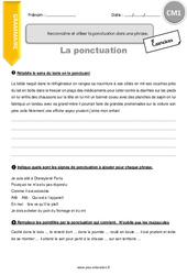 Reconnaitre et utiliser la ponctuation dans une phrase - CM1 - Exercices à imprimer