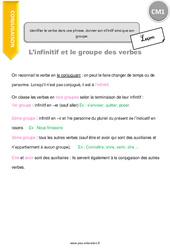 Identifier le verbe dans une phrase, donner son infinitif ainsi que son groupe – CM1 – Leçon
