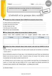 Identifier le verbe dans une phrase, donner son infinitif ainsi que son groupe – CM1 – Exercices à imprimer