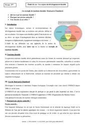 Enjeux du développement durable – Etude de cas – 5ème – Géographie