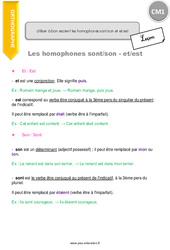 Utiliser à bon escient les homophones [sont] [son] et [et] [est] - CM1 - Leçon