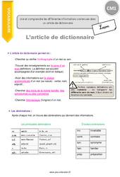 Lire et comprendre les différentes informations contenues dans un article de dictionnaire - CM1 - Leçon
