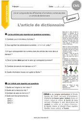 Lire et comprendre les différentes informations contenues dans un article de dictionnaire - CM1 - Exercices à imprimer