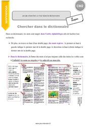 Je sais chercher un mot dans le dictionnaire - CM2 - Leçon