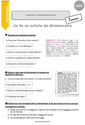 Je sais lire un article de dictionnaire - CM2 - Exercices avec correction