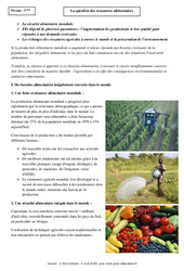 Ressources alimentaires – Cours – 5ème – Géographie
