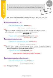 Comment orthographier les mots commençant par af, ac, ap, ef, of - CM2 - Leçon