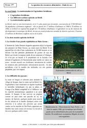 Ressources alimentaires – Etude de cas – 5ème – Géographie