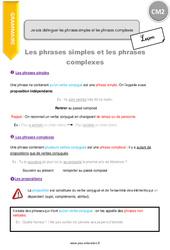 Je sais distinguer les phrases simples et les phrases complexes – CM2 – Leçon