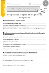 Je sais distinguer les phrases simples et les phrases complexes – CM2 – Exercices à imprimer