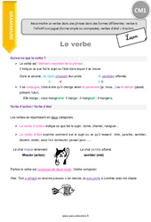 Reconnaitre un verbe dans une phrase dans des formes différentes  verbe à l'infinitif, conjugué (forme simple ou composée) verbe d'état - d'action - CM1 - Leçon
