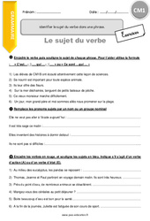 Identifier le sujet du verbe dans une phrase – CM1 – Exercices à imprimer