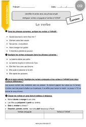 Identifier le verbe dans une phrase simple – CE2 – Exercices avec correction
