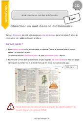 Je sais chercher un mot dans le dictionnaire – CE2 – Leçon