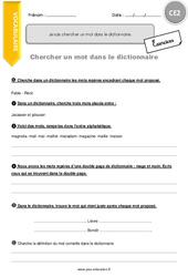 Je sais chercher un mot dans le dictionnaire – CE2 – Exercices à imprimer
