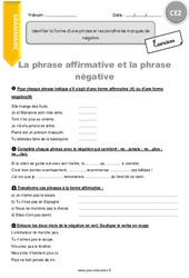 Identifier la forme d'une phrase et reconnaître les marques de négation – CE2 – Exercices à imprimer