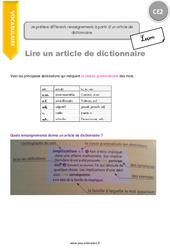 Je prélève différents renseignements à partir d'un article de dictionnaire – CE2 – Leçon