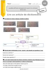 Je prélève différents renseignements à partir d'un article de dictionnaire – CE2 – Exercices avec correction