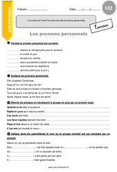 Connaitre et faire fonctionner les pronoms personnels – CE2 – Exercices à imprimer