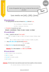 Comment orthographier des mots qui contiennent les sons en [ill] ,[oi] ,[eur] - CM2 - Leçon