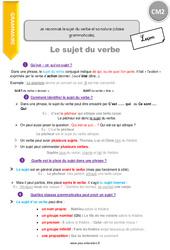 Je reconnais le sujet du verbe et sa nature (classe grammaticale) – CM2 – Leçon