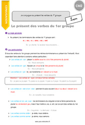 Je sais conjuguer les verbes au présent de l'indicatif (révision) – CM2 – Leçon