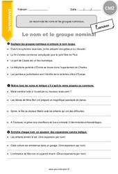 Je reconnais les noms et les groupes nominaux - CM2 - Exercices avec correction