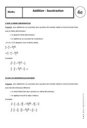 Addition - Soustraction - 4ème - Cours - Nombres relatifs en écriture fractionnaire